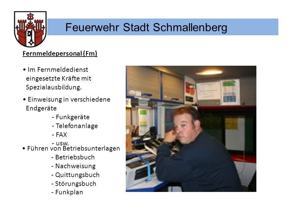 Feuerwehr Stadt Schmallenberg Fernmeldepersonal (Fm) Im Fernmeldedienst eingesetzte Kräfte mit Spezialausbildung. Einweisung in verschiedene Endgeräte