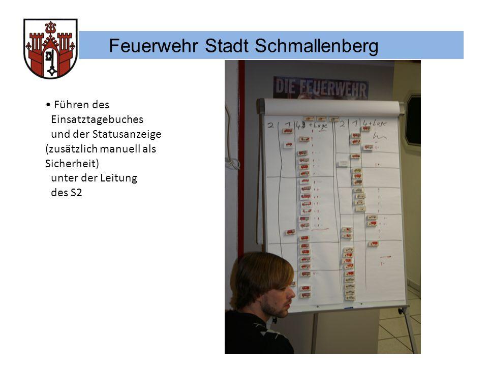 Feuerwehr Stadt Schmallenberg Führen des Einsatztagebuches und der Statusanzeige (zusätzlich manuell als Sicherheit) unter der Leitung des S2