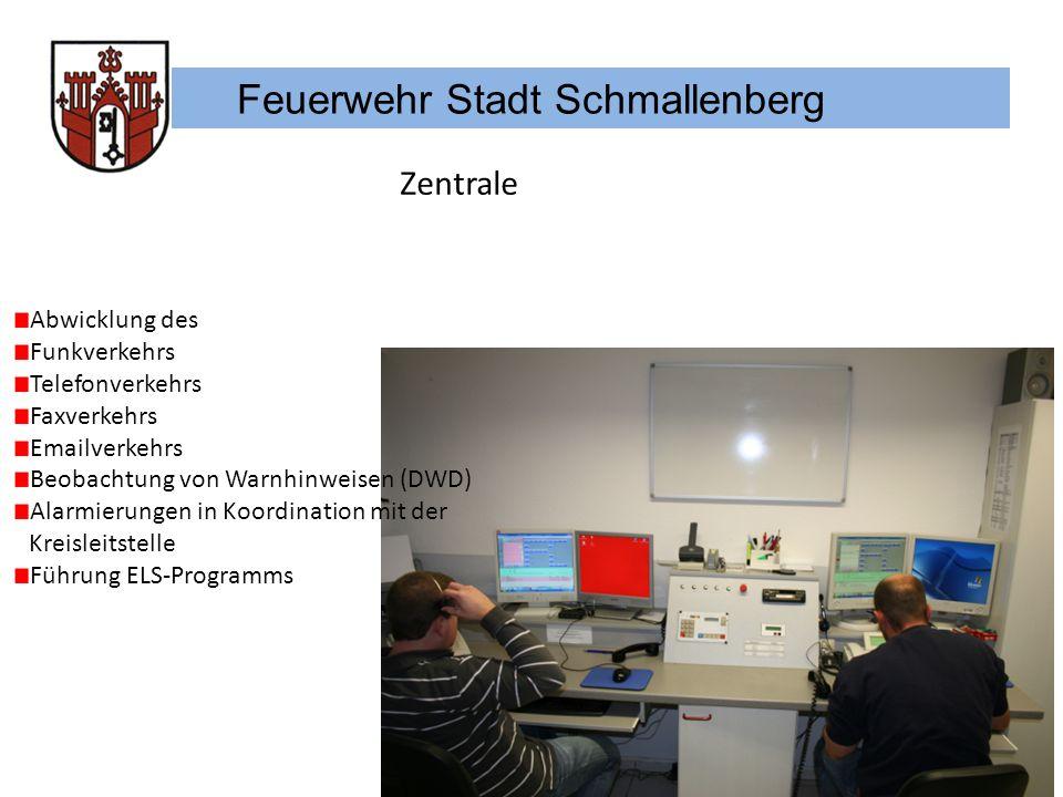 Feuerwehr Stadt Schmallenberg Zentrale Abwicklung des Funkverkehrs Telefonverkehrs Faxverkehrs Emailverkehrs Beobachtung von Warnhinweisen (DWD) Alarm