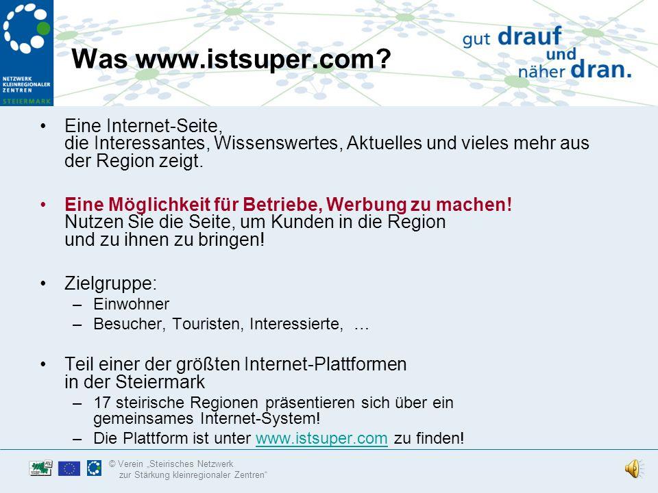 www.istsuper.com www.istsuper.com Aktives Marketing rund um das Internet für Betriebe, Vereine und Gemeinden in Ihrer Kleinregion