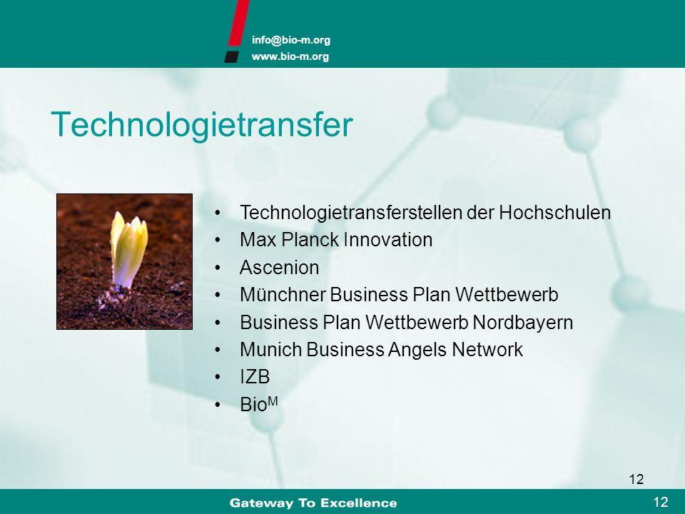 info@bio-m.org www.bio-m.org 11 Ludwig-Maximilians-Universität Technische Universität 2 Universitätskliniken 2 Fachhochschulen 3 Max-Planck-Institute