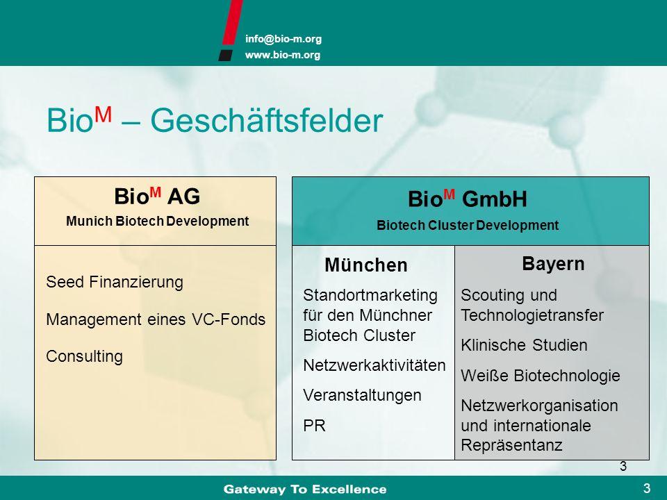 info@bio-m.org www.bio-m.org 13 Biotech-Gründerzentren IZB Weihenstephan IZB Martinsried - gebaut in fünf Abschnitten zwischen 1995 und 2002 - mehr als 50 Millionen Euro investiert - acht Gebäude mit insgesamt 14.700 m 2 - Eröffnung im Dezember 2001 - mehr als 10 Millionen Euro investiert - Laborfläche von 2.200 m 2