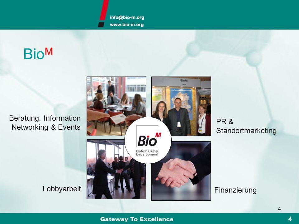 info@bio-m.org www.bio-m.org 3 3 Bio M – Geschäftsfelder Bio M AG Munich Biotech Development Seed Finanzierung Management eines VC-Fonds Consulting Bi