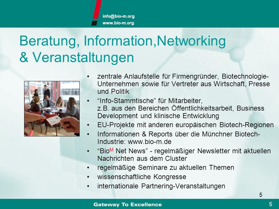 info@bio-m.org www.bio-m.org 15 Pioniere & Entrepreneure erfolgreiche Unternehmen als Vorbilder acht börsennotierte Unternehmen Munich Network Münchener Business Plan Wettbewerb Business Plan Wettbewerb Nordbayern (1999) (2000) (1998) (1999) (2000) (2005) (2006)