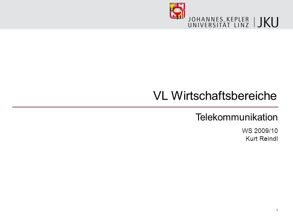 VL Wirtschaftsbereiche Telekommunikation WS 2009/10 Kurt Reindl 1