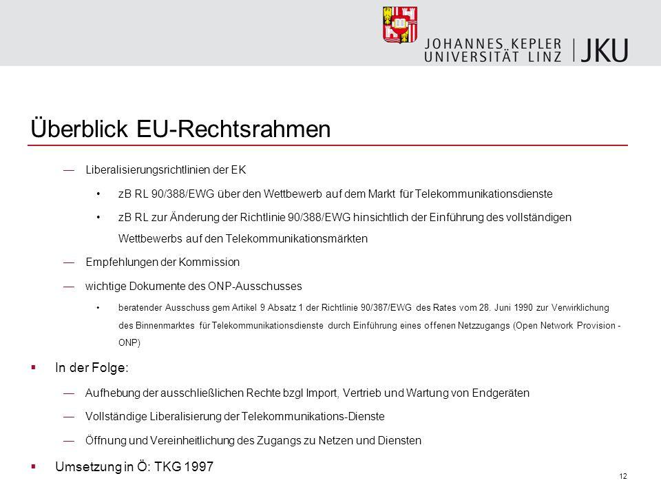 12 Überblick EU-Rechtsrahmen Liberalisierungsrichtlinien der EK zB RL 90/388/EWG über den Wettbewerb auf dem Markt für Telekommunikationsdienste zB RL