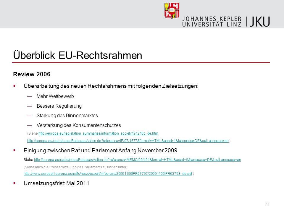 14 Überblick EU-Rechtsrahmen Review 2006 Überarbeitung des neuen Rechtsrahmens mit folgenden Zielsetzungen: Mehr Wettbewerb Bessere Regulierung Stärku
