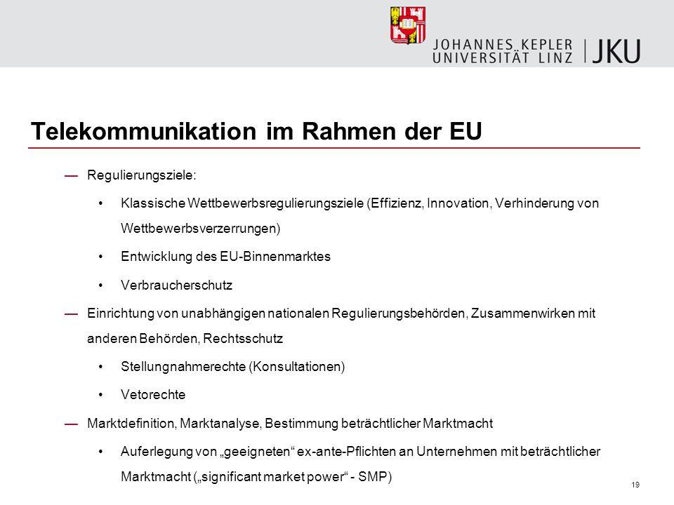19 Telekommunikation im Rahmen der EU Regulierungsziele: Klassische Wettbewerbsregulierungsziele (Effizienz, Innovation, Verhinderung von Wettbewerbsv