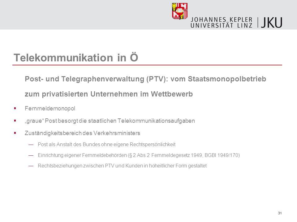 31 Telekommunikation in Ö Post- und Telegraphenverwaltung (PTV): vom Staatsmonopolbetrieb zum privatisierten Unternehmen im Wettbewerb Fernmeldemonopo