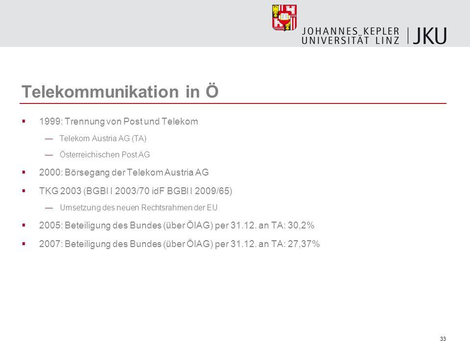 33 Telekommunikation in Ö 1999: Trennung von Post und Telekom Telekom Austria AG (TA) Österreichischen Post AG 2000: Börsegang der Telekom Austria AG