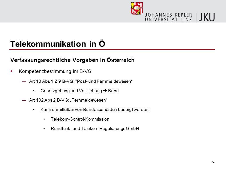 34 Telekommunikation in Ö Verfassungsrechtliche Vorgaben in Österreich Kompetenzbestimmung im B-VG Art 10 Abs 1 Z 9 B-VG: