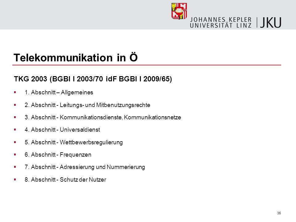 35 Telekommunikation in Ö TKG 2003 (BGBl I 2003/70 idF BGBl I 2009/65) 1. Abschnitt – Allgemeines 2. Abschnitt - Leitungs- und Mitbenutzungsrechte 3.