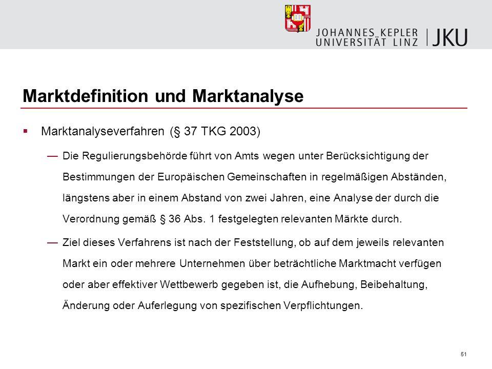 51 Marktdefinition und Marktanalyse Marktanalyseverfahren (§ 37 TKG 2003) Die Regulierungsbehörde führt von Amts wegen unter Berücksichtigung der Best
