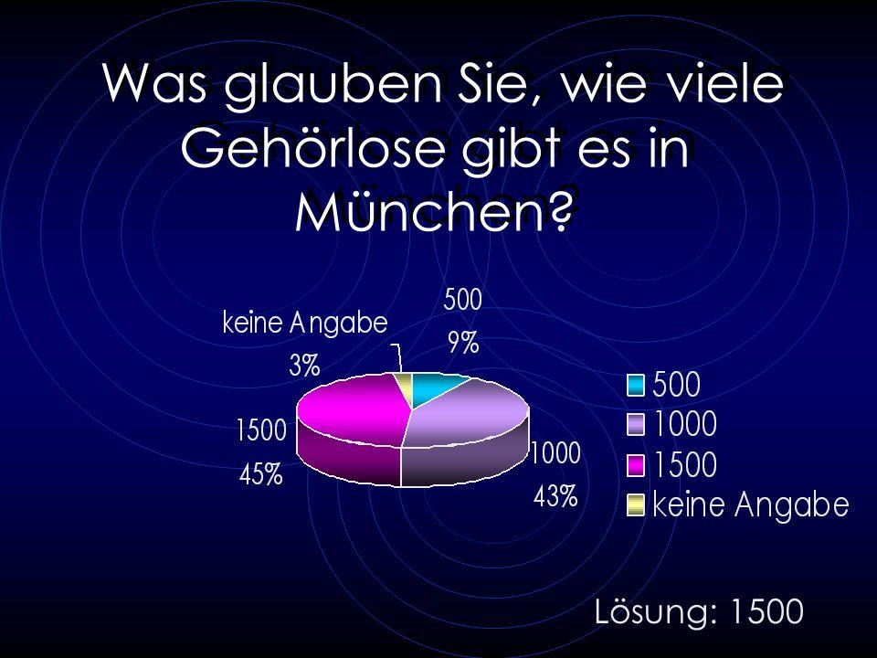 Was glauben Sie, wie viele Gehörlose gibt es in München? Lösung: 1500