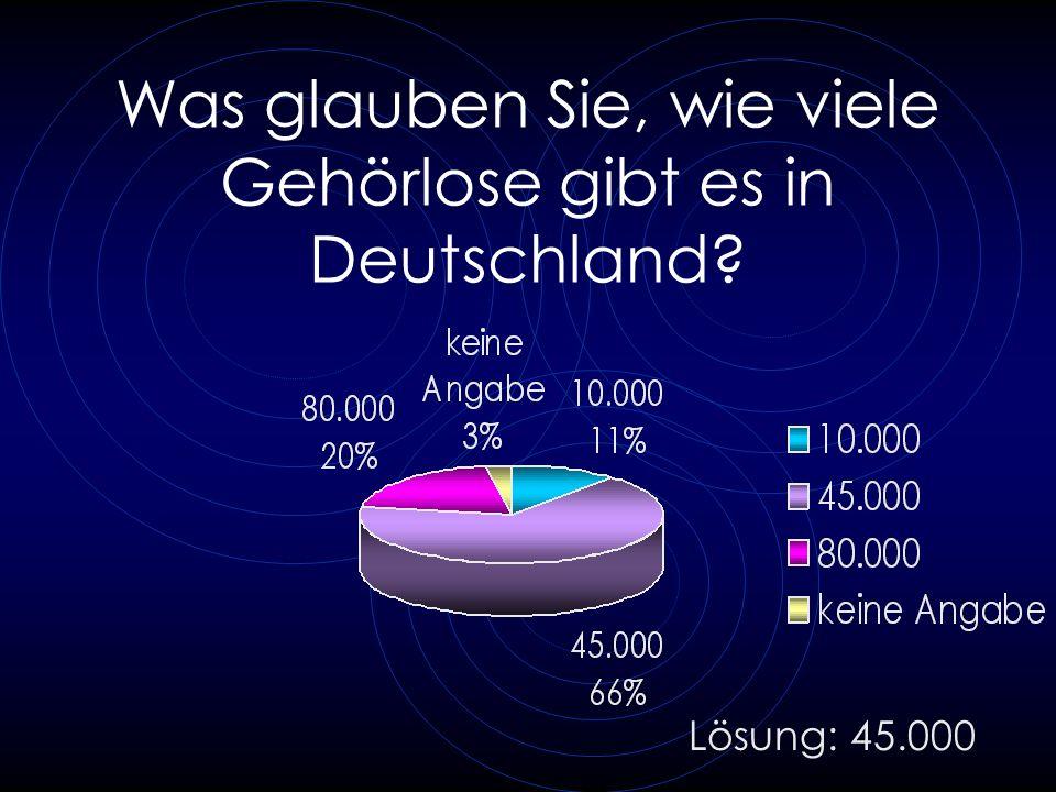 Was glauben Sie, wie viele Gehörlose gibt es in Deutschland? Lösung: 45.000