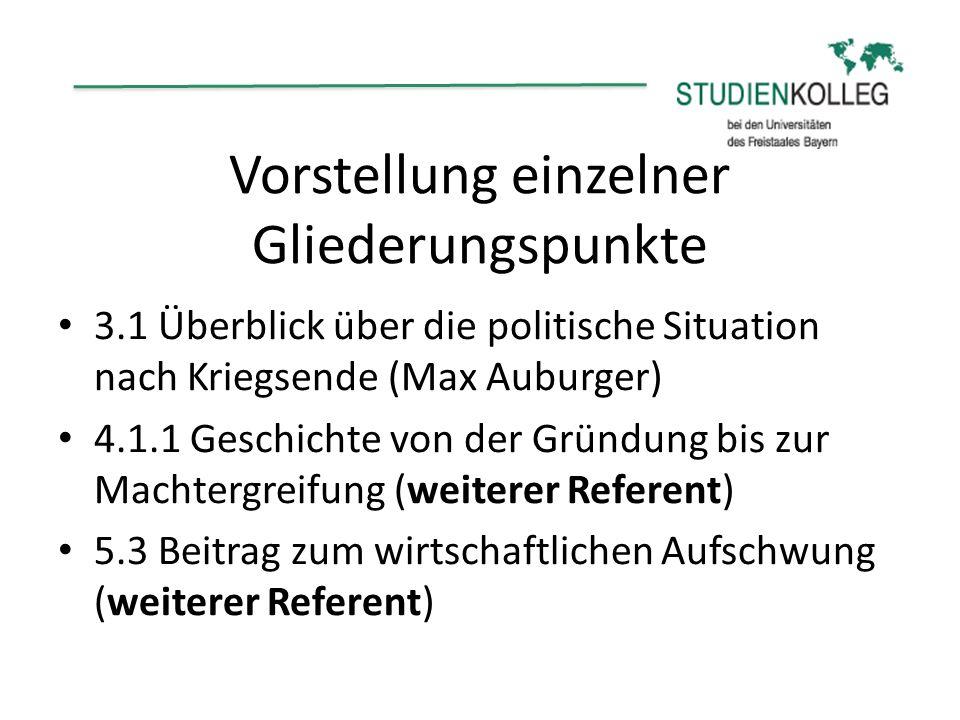 Vorstellung einzelner Gliederungspunkte 3.1 Überblick über die politische Situation nach Kriegsende (Max Auburger) 4.1.1 Geschichte von der Gründung b
