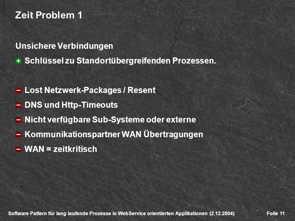 Software Pattern für lang laufende Prozesse in WebService orientierten Applikationen (2.12.2004)Folie 11 Zeit Problem 1 Unsichere Verbindungen Schlüssel zu Standortübergreifenden Prozessen.