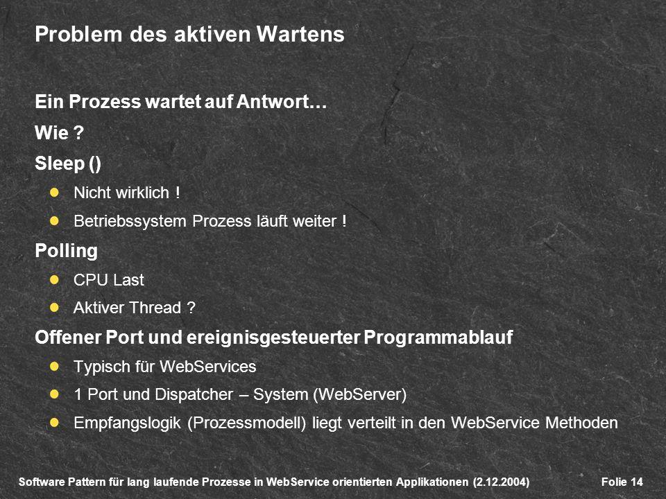 Software Pattern für lang laufende Prozesse in WebService orientierten Applikationen (2.12.2004)Folie 14 Problem des aktiven Wartens Ein Prozess wartet auf Antwort… Wie .