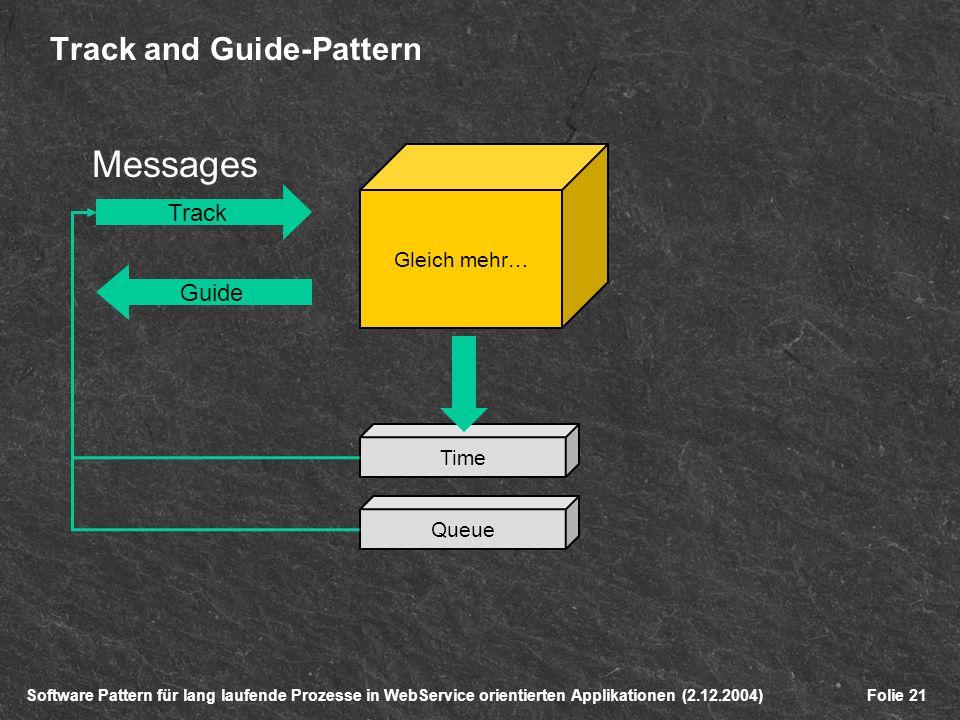 Software Pattern für lang laufende Prozesse in WebService orientierten Applikationen (2.12.2004)Folie 21 Track and Guide-Pattern Time Gleich mehr… Queue Track Guide Messages