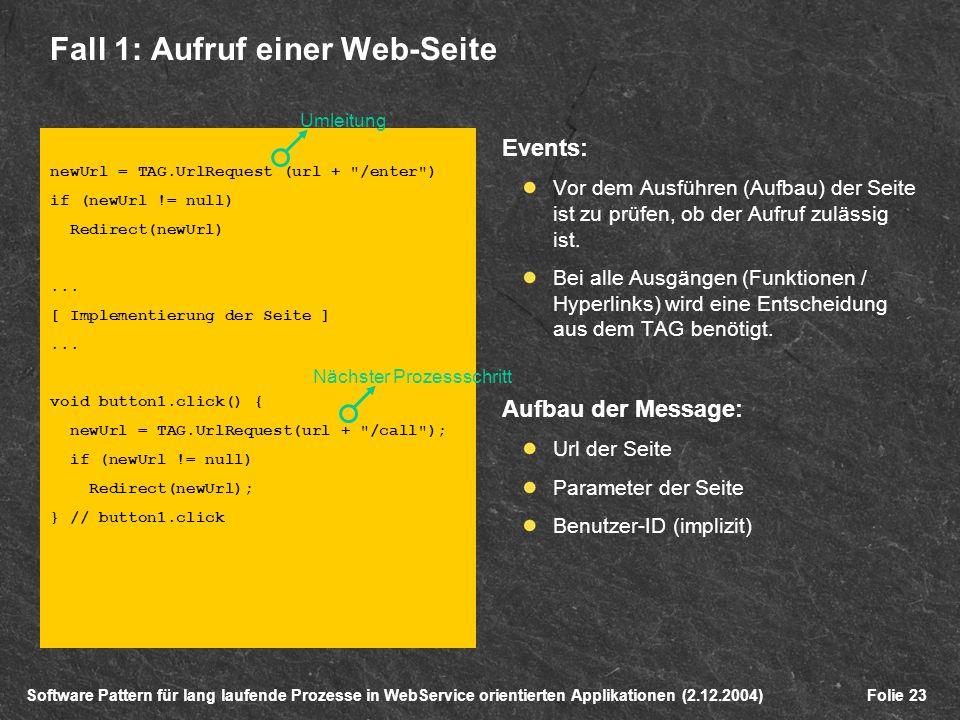 Software Pattern für lang laufende Prozesse in WebService orientierten Applikationen (2.12.2004)Folie 23 Fall 1: Aufruf einer Web-Seite newUrl = TAG.UrlRequest (url + /enter ) if (newUrl != null) Redirect(newUrl)...