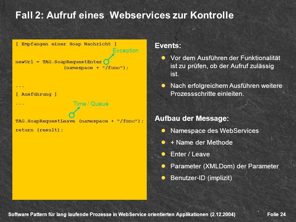 Software Pattern für lang laufende Prozesse in WebService orientierten Applikationen (2.12.2004)Folie 24 [ Empfangen einer Soap Nachricht ] newUrl = TAG.SoapRequestEnter (namespace + /func );...