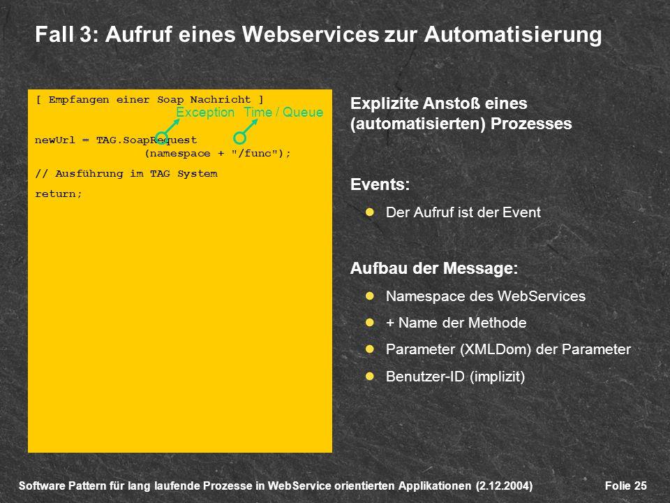 Software Pattern für lang laufende Prozesse in WebService orientierten Applikationen (2.12.2004)Folie 25 [ Empfangen einer Soap Nachricht ] newUrl = TAG.SoapRequest (namespace + /func ); // Ausführung im TAG System return; Fall 3: Aufruf eines Webservices zur Automatisierung Explizite Anstoß eines (automatisierten) Prozesses Events: Der Aufruf ist der Event Aufbau der Message: Namespace des WebServices + Name der Methode Parameter (XMLDom) der Parameter Benutzer-ID (implizit) ExceptionTime / Queue