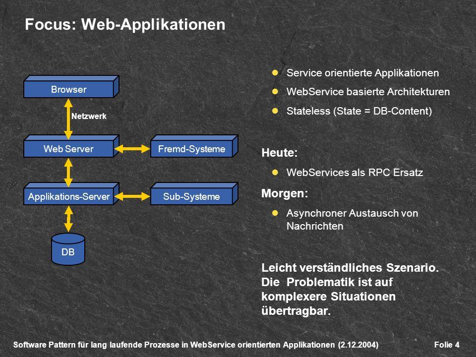Software Pattern für lang laufende Prozesse in WebService orientierten Applikationen (2.12.2004)Folie 4 Focus: Web-Applikationen Service orientierte Applikationen WebService basierte Architekturen Stateless (State = DB-Content) Heute: WebServices als RPC Ersatz Morgen: Asynchroner Austausch von Nachrichten Leicht verständliches Szenario.
