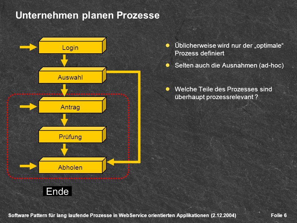 Software Pattern für lang laufende Prozesse in WebService orientierten Applikationen (2.12.2004)Folie 6 Unternehmen planen Prozesse Üblicherweise wird nur der optimale Prozess definiert Selten auch die Ausnahmen (ad-hoc) Welche Teile des Prozesses sind überhaupt prozessrelevant .