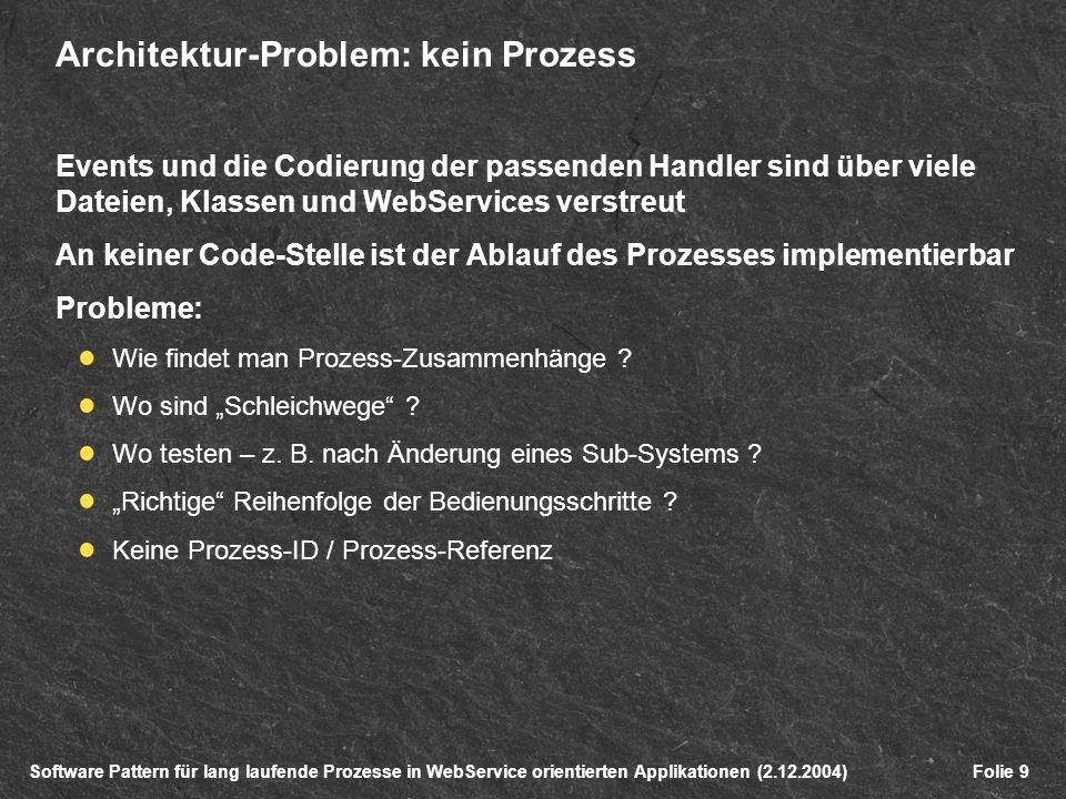 Software Pattern für lang laufende Prozesse in WebService orientierten Applikationen (2.12.2004)Folie 9 Architektur-Problem: kein Prozess Events und die Codierung der passenden Handler sind über viele Dateien, Klassen und WebServices verstreut An keiner Code-Stelle ist der Ablauf des Prozesses implementierbar Probleme: Wie findet man Prozess-Zusammenhänge .