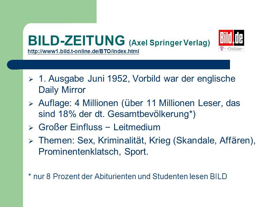 BILD-ZEITUNG (Axel Springer Verlag) http://www1.bild.t-online.de/BTO/index.html http://www1.bild.t-online.de/BTO/index.html 1.