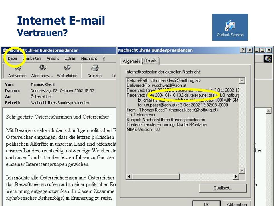 Seite 2 W. Schwabl 4. Feb. 2005 Internet E-mail Vertrauen?