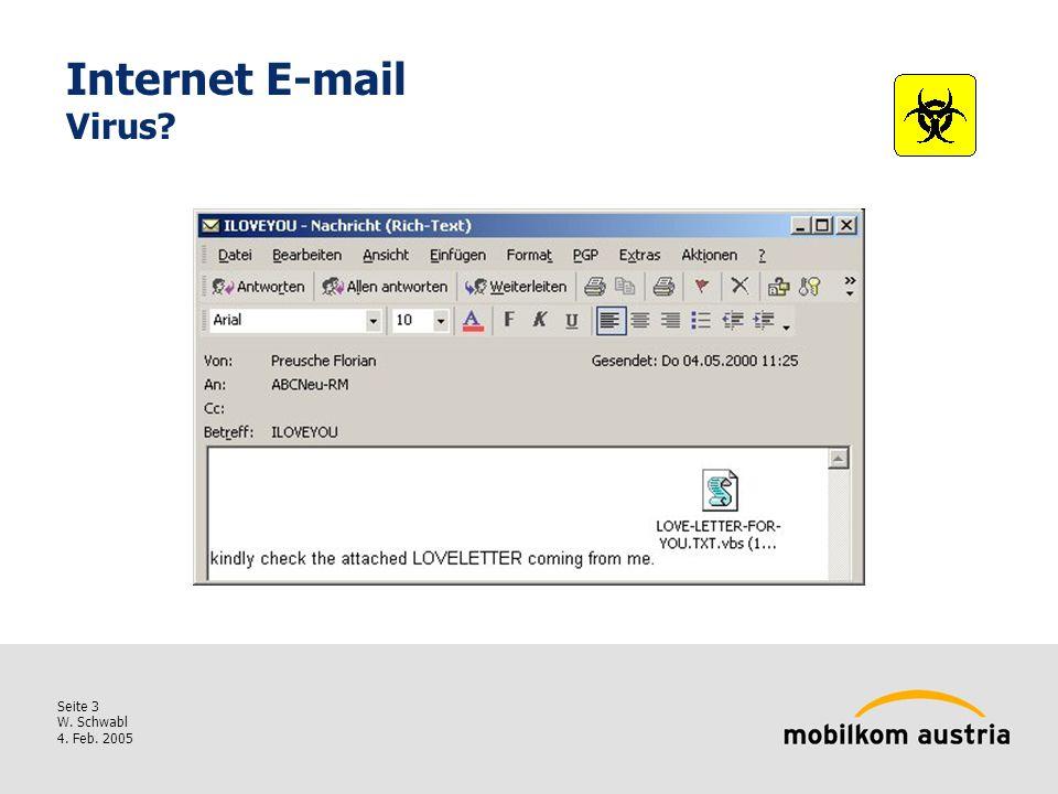 Seite 3 W. Schwabl 4. Feb. 2005 Internet E-mail Virus?
