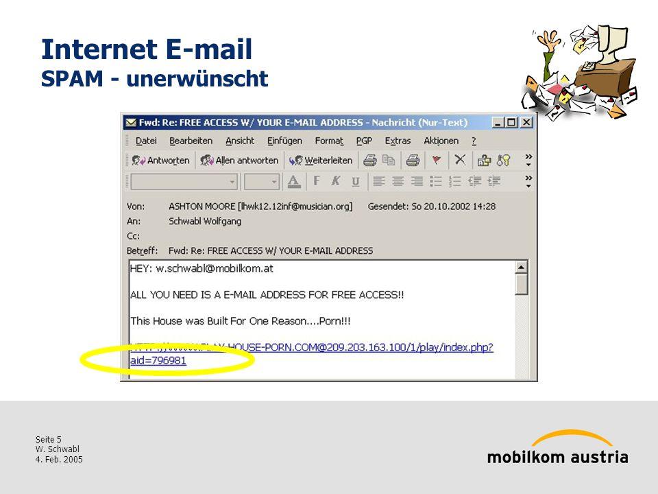 Seite 5 W. Schwabl 4. Feb. 2005 Internet E-mail SPAM - unerwünscht