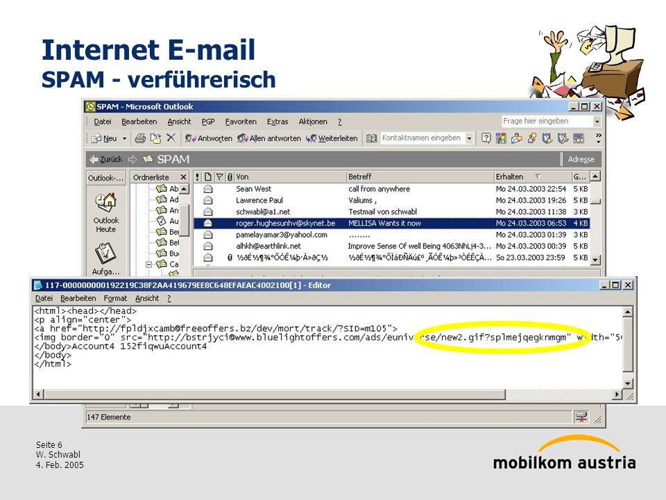 Seite 6 W. Schwabl 4. Feb. 2005 Internet E-mail SPAM - verführerisch