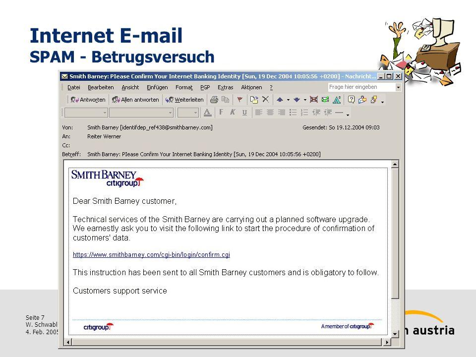 Seite 7 W. Schwabl 4. Feb. 2005 Internet E-mail SPAM - Betrugsversuch
