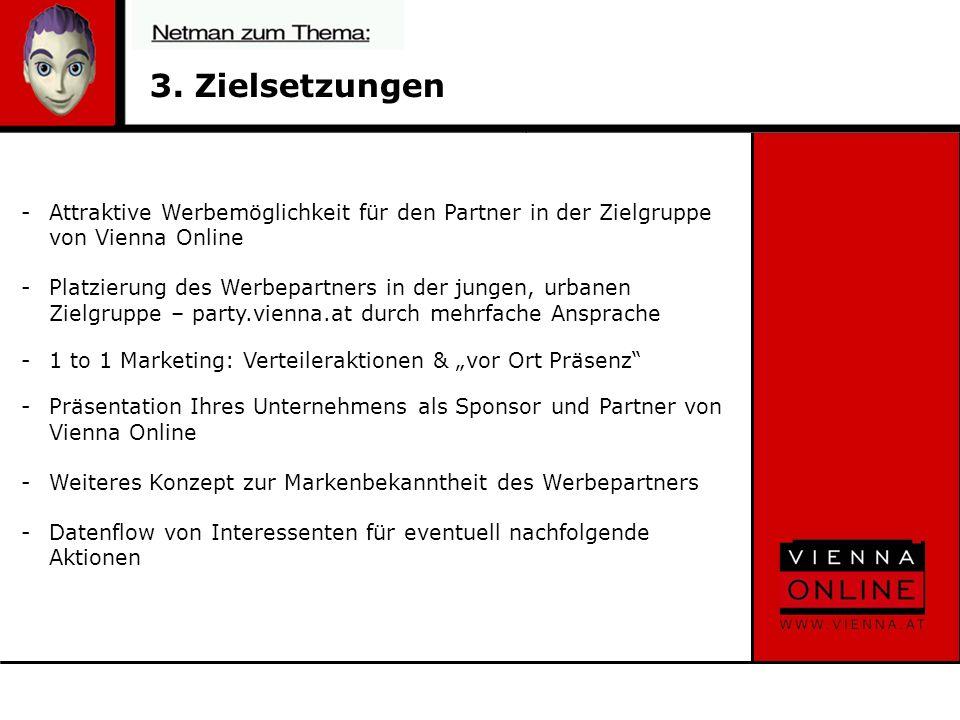3. Zielsetzungen -Attraktive Werbemöglichkeit für den Partner in der Zielgruppe von Vienna Online -Platzierung des Werbepartners in der jungen, urbane