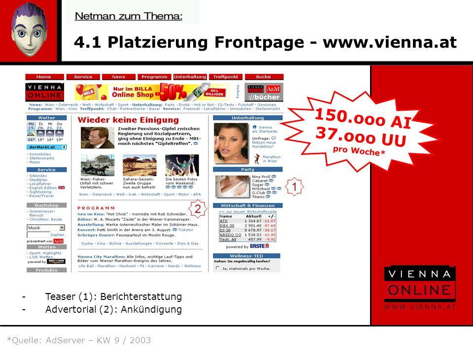 4.1 Platzierung Frontpage - www.vienna.at -Teaser (1): Berichterstattung -Advertorial (2): Ankündigung 150.ooo AI 37.ooo UU pro Woche* 2 1 *Quelle: AdServer – KW 9 / 2003