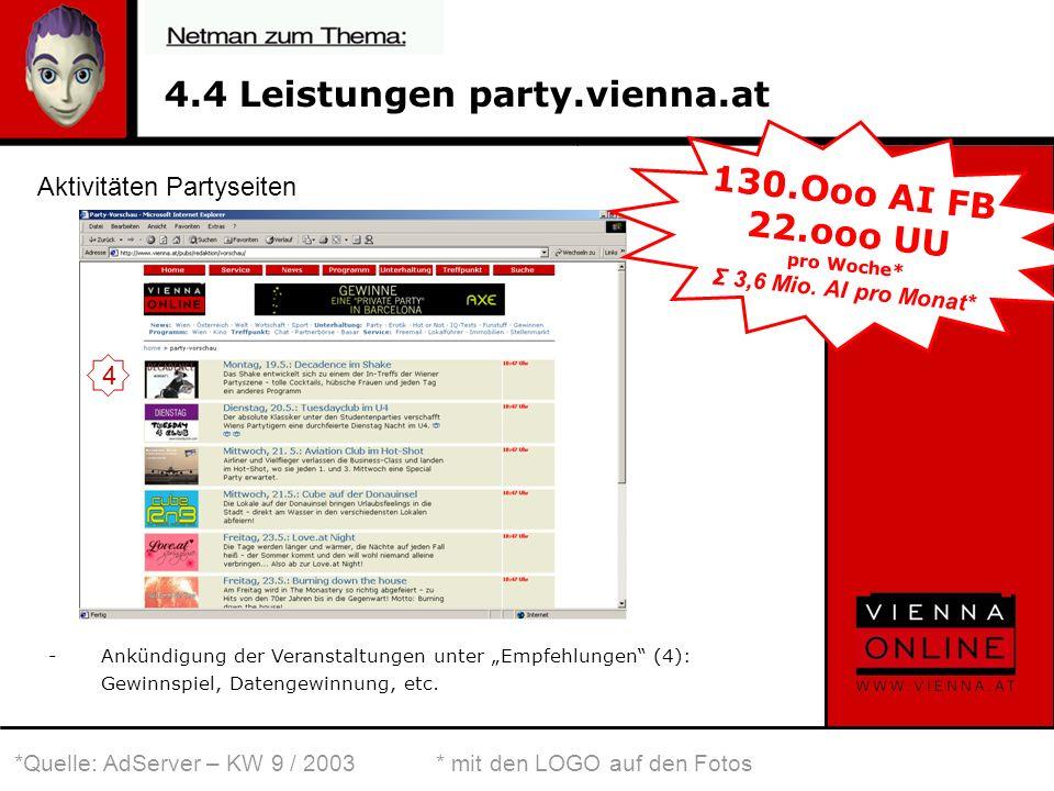 4.4 Leistungen party.vienna.at -Ankündigung der Veranstaltungen unter Empfehlungen (4): Gewinnspiel, Datengewinnung, etc.