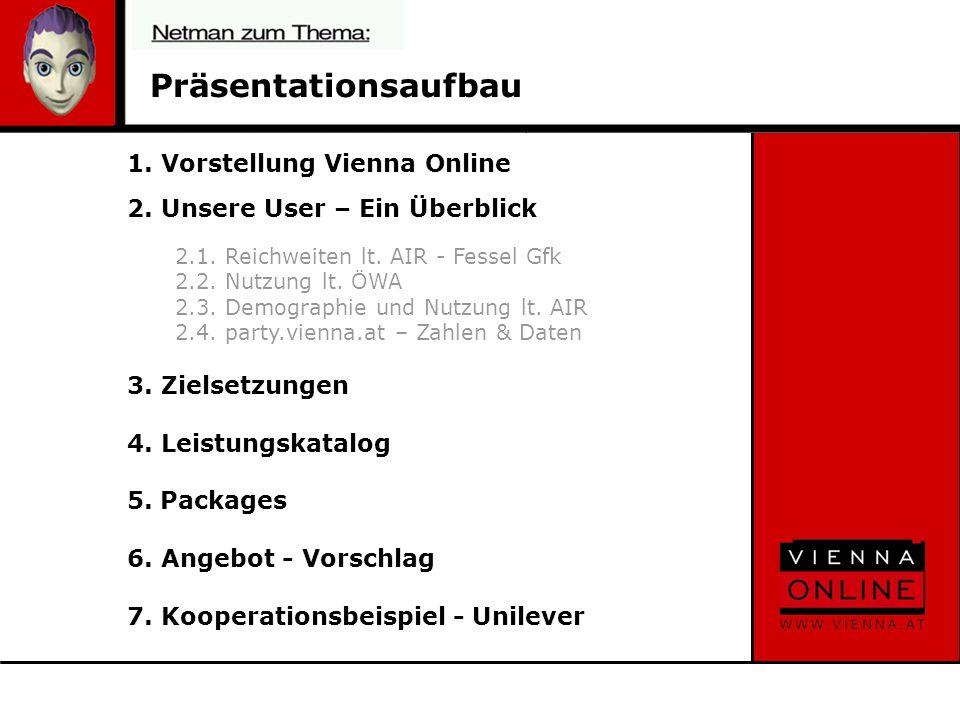 4.2 Platzierung programm.vienna.at -Co-branding (1): Berichterstattung -Advertorial (2): Ankündigung Aktivitäten Wienprogramm 2 1 230.ooo AI 23.ooo UU pro Woche*