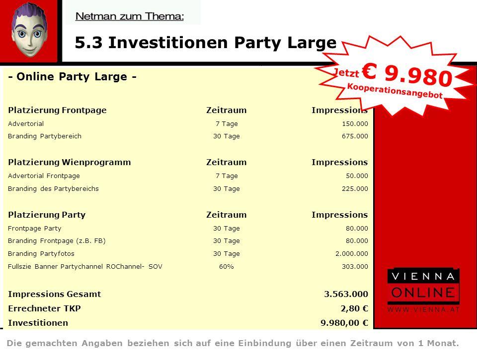 5.3 Investitionen Party Large Die gemachten Angaben beziehen sich auf eine Einbindung über einen Zeitraum von 1 Monat.