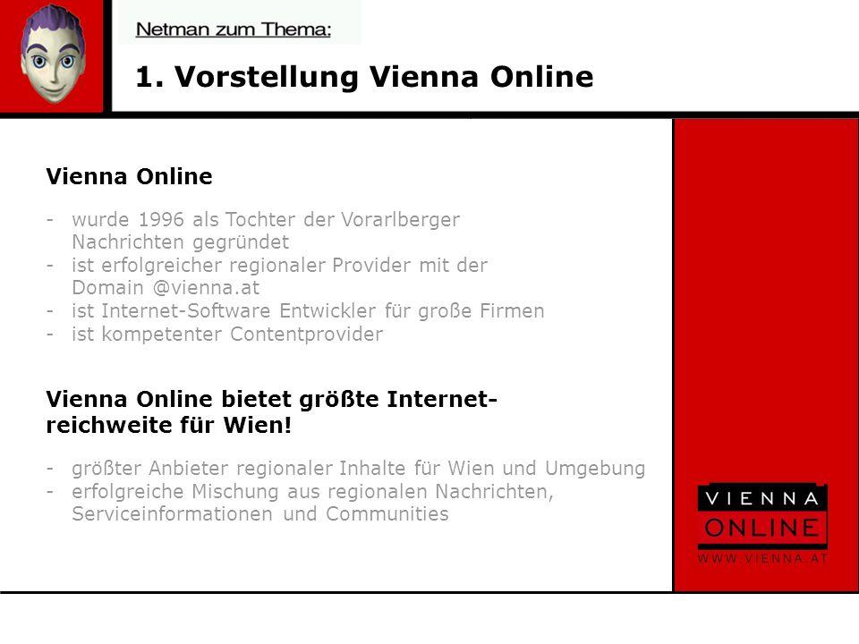 1. Vorstellung Vienna Online Vienna Online -wurde 1996 als Tochter der Vorarlberger Nachrichten gegründet -ist erfolgreicher regionaler Provider mit d