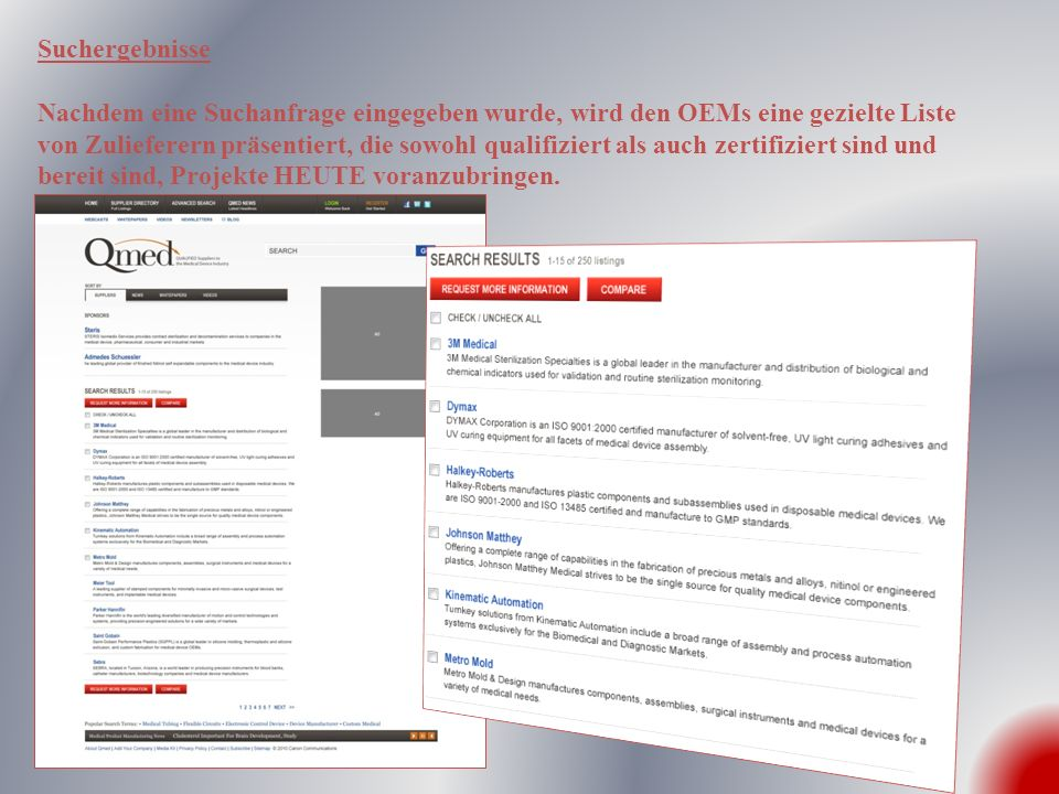 Suchergebnisse Nachdem eine Suchanfrage eingegeben wurde, wird den OEMs eine gezielte Liste von Zulieferern präsentiert, die sowohl qualifiziert als a