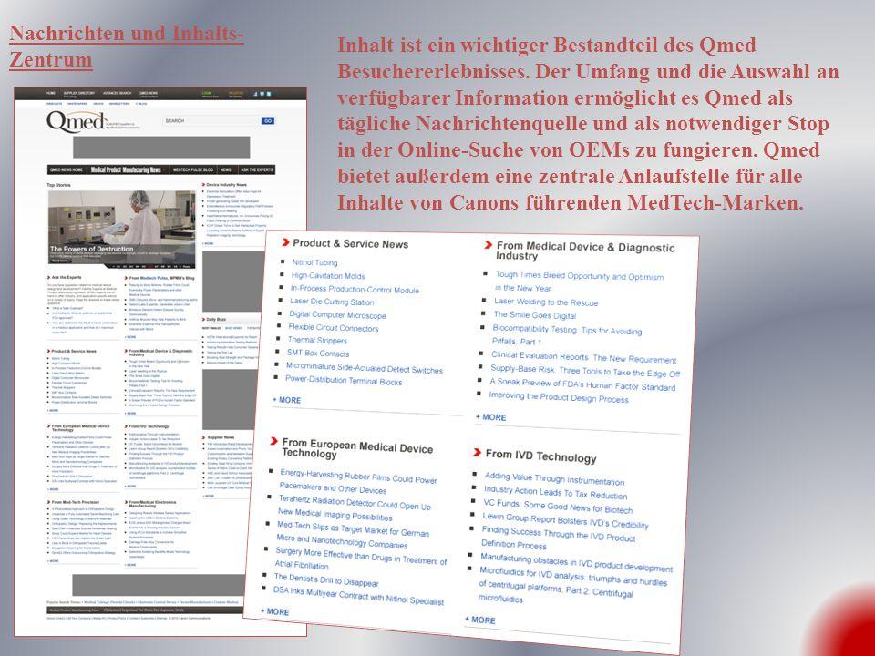 Inhalt ist ein wichtiger Bestandteil des Qmed Besuchererlebnisses. Der Umfang und die Auswahl an verfügbarer Information ermöglicht es Qmed als täglic