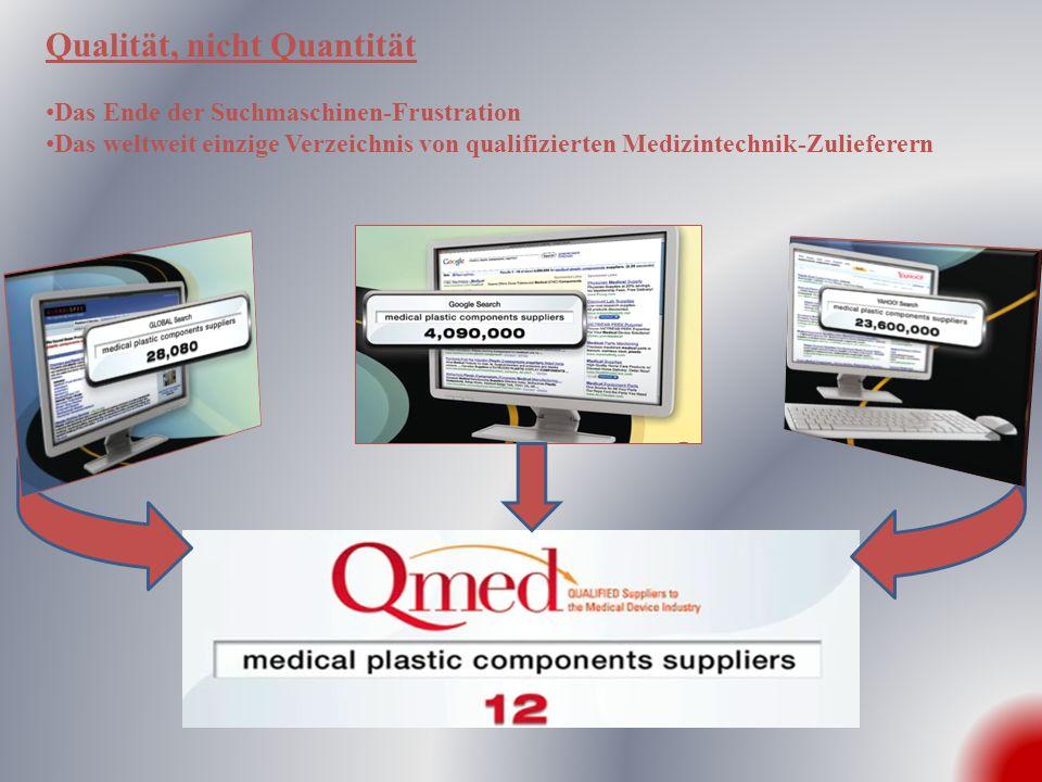 Qualität, nicht Quantität Das Ende der Suchmaschinen-Frustration Das weltweit einzige Verzeichnis von qualifizierten Medizintechnik-Zulieferern