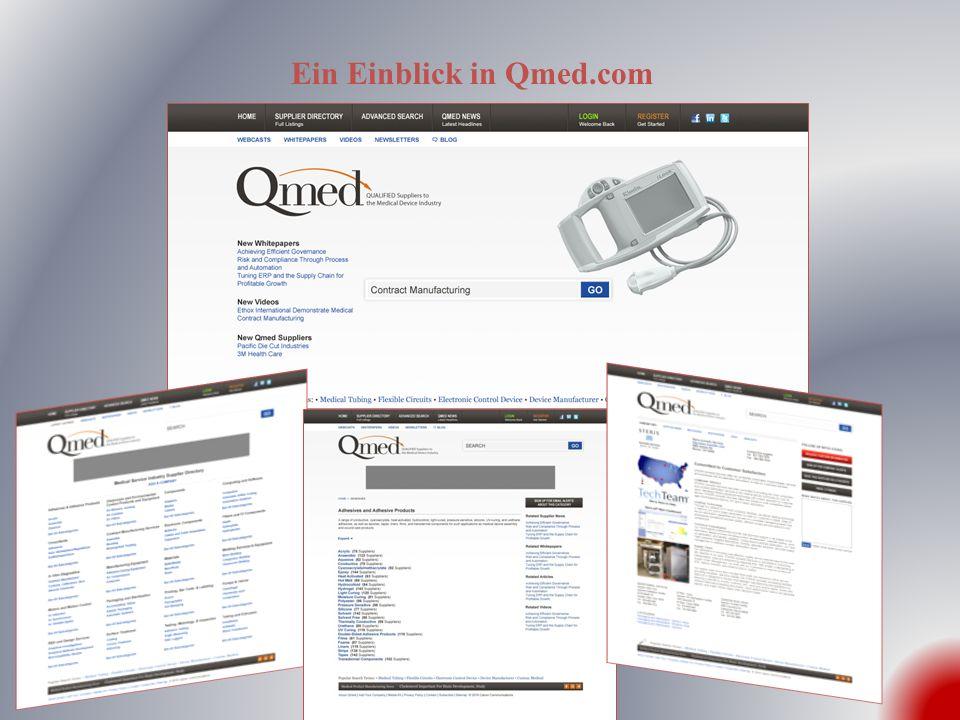 Homepage Das stromlinienförmige und intuitive Layout der Homepage lenkt den Fokus auf Qmeds praktische Suchfunktion, um OEMs sofort ganz nah an die Einträge von qualifizierten Zulieferern und relevantem Qmed-Inhalt zu bringen.