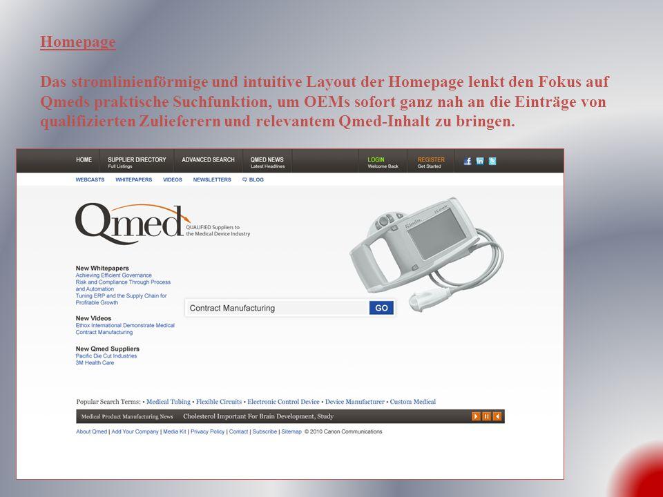 Homepage Das stromlinienförmige und intuitive Layout der Homepage lenkt den Fokus auf Qmeds praktische Suchfunktion, um OEMs sofort ganz nah an die Ei