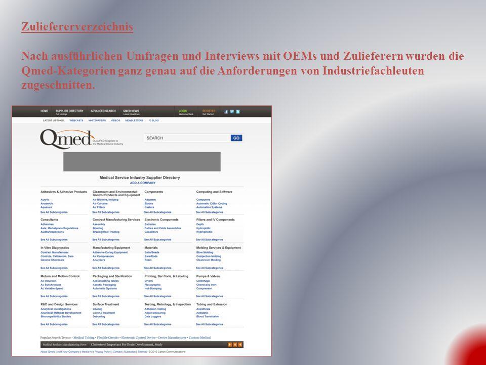 Kategorieverzeichnis Im Kategorieverzeichnis können OEMs aus Zulieferern in einem Untergruppenverzeichnis wählen oder auch aus Inhalten wie z.