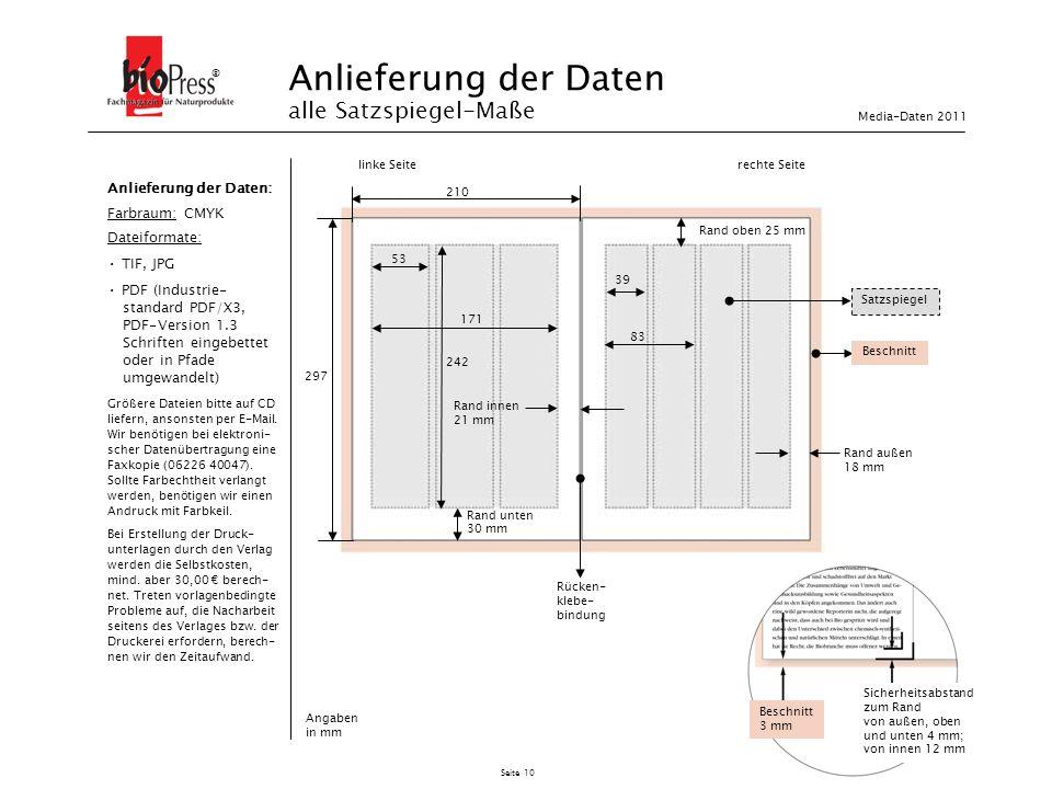 Seite 10 Anlieferung der Daten alle Satzspiegel-Maße ® Beschnitt 3 mm Sicherheitsabstand zum Rand von außen, oben und unten 4 mm; von innen 12 mm Satz