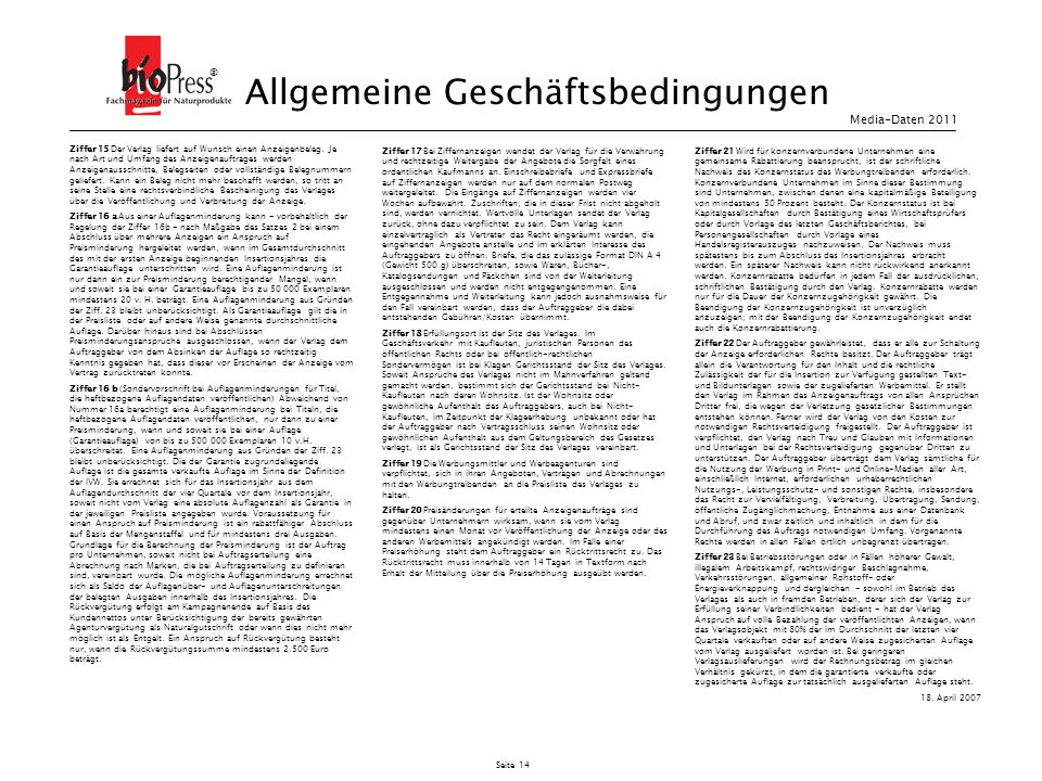 Seite 14 Ziffer 15 Der Verlag liefert auf Wunsch einen Anzeigenbeleg. Je nach Art und Umfang des Anzeigenauftrages werden Anzeigenausschnitte, Belegse