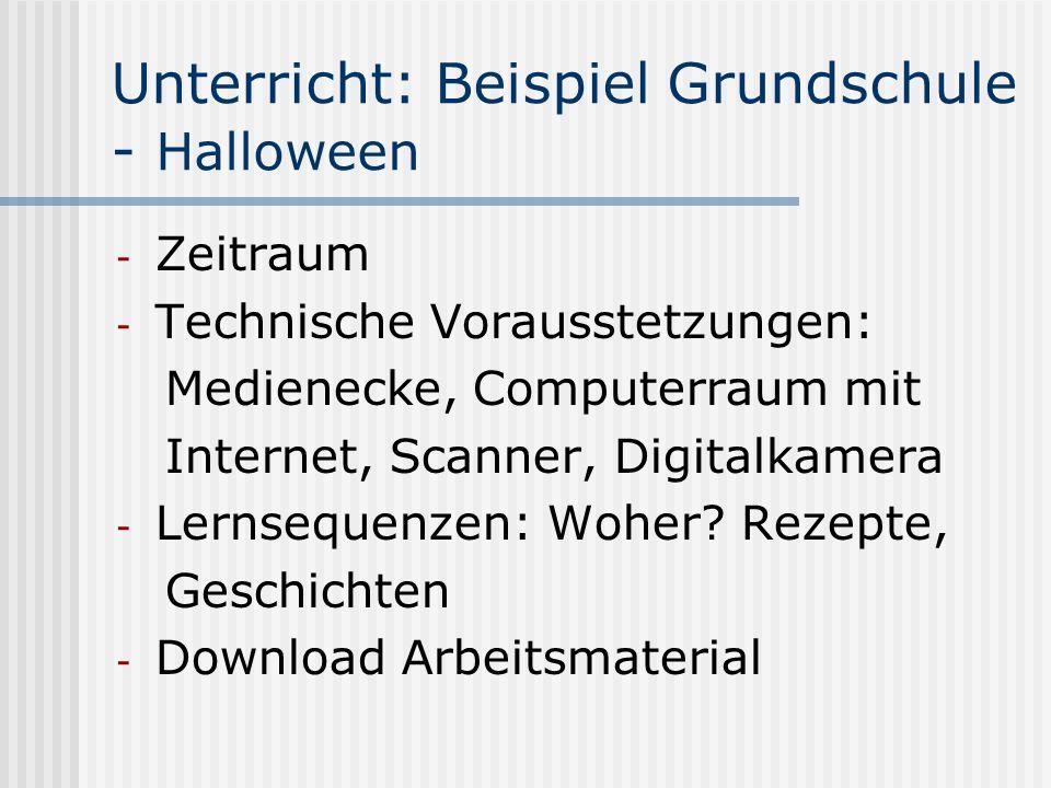 Unterricht: Beispiel Grundschule - Halloween - Zeitraum - Technische Vorausstetzungen: Medienecke, Computerraum mit Internet, Scanner, Digitalkamera -